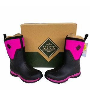 Muck Black & Pink Arctic Sport II Mid Snow Boots 9